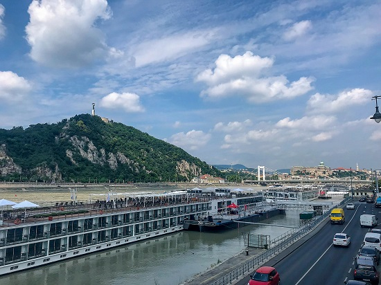 Citadella on Gellért Hill, Elizabeth Bridge, and Buda Castle, all along the Danube River