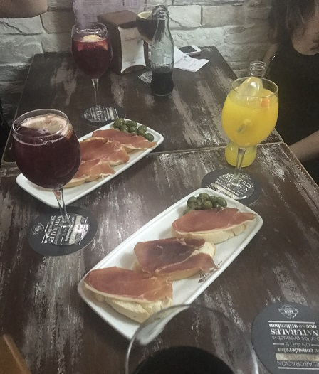 drinks and tapas to share with friends