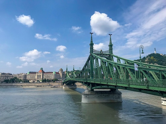 Liberty Bridge and the historic St. Gellért Hotel and Thermal Baths