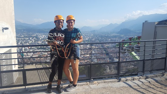 My friend and I after ziplining in Grenoble