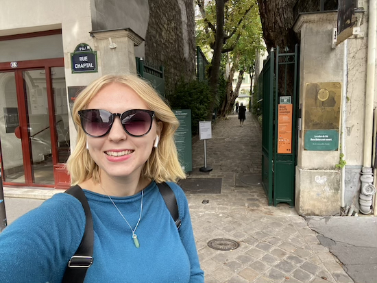 Sophia at Entrance to Musee de la Vie Romantique